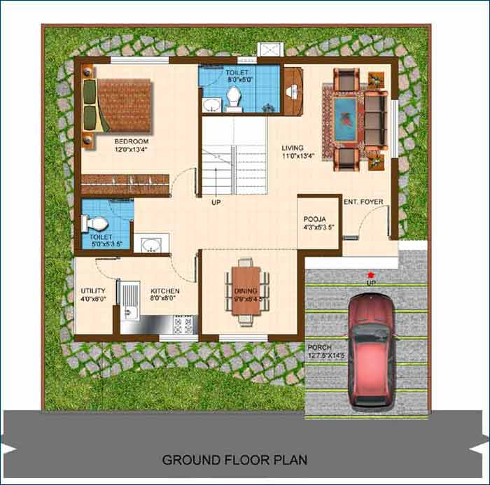 Conceptual Ground Floor Plan - 2100 SFT Home (Size subject to